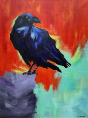 """One Crow - Acrylic, 18"""" x 24"""""""