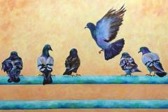 Simser03_Six-Pigeons-at-Manhattan-Pier_Acrylic_24x30