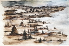 Cree Camp - Watercolour on Arches paper