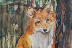 Rivoire - Fox - targel acrylic acrylic ink, 24x24