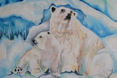 Rivoire - Mother and Cub - targel acrylic acrylic ink, 24x24