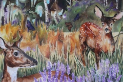 Rivoire - Doe and Fawns - targel acrylic acrylic ink, 24x36