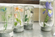 Flowers in Antique Canning Jars