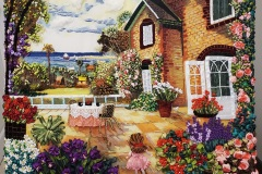 Nadia-Morcos_02_The-cottage-early-morning_Embroidery-3D-Ribbons_45cmx35cm