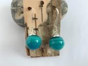 Blown Glass Earrings - Shades of Blue Green