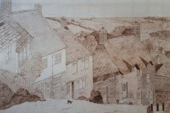HEWER - Gold Hill Shaftesbury - pyrography-on-maple, 19x24