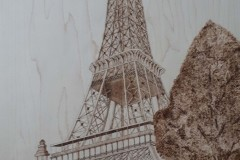 HEWER - Paris in the Springtime - pyrography-on-maple, 24x15