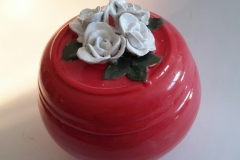 Red Urn with white roses