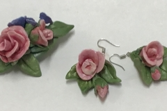 Rose Earings & Brooch